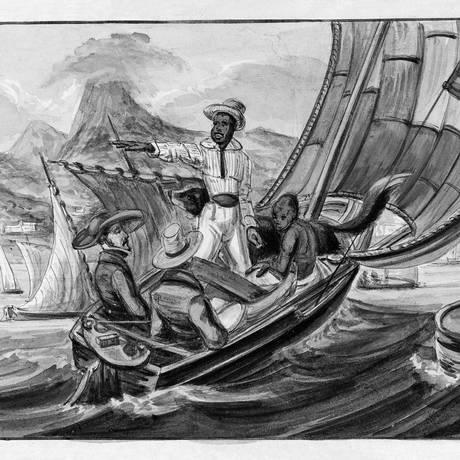 Ilustração do abolicionista britânico Paul Harro-Haring do contrabando de escravos no Rio: apesar das tentativas de cumprir a lei, ela foi largamente burlada Foto: Reprodução/Companhia das Letras