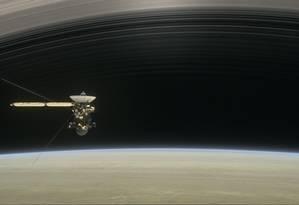 Ilustração mostra a sonda Cassini na órbita de Saturno Foto: NASA