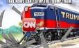 'Mentiras falsas não param o Trum Train', diz o meme retuítado pelo presidente nesta terça-feira