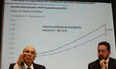 O Ministro da Fazenda Henrique Meirelles e o do Planejamento, Dyogo Oliveira, anunciam revisão da meta para 2017 e 2018 Foto: Ailton Freitas / Agência O Globo