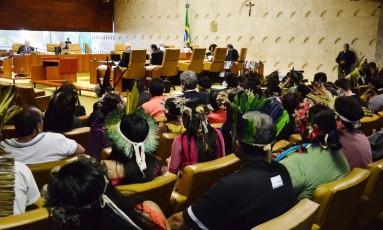O Plenário do Supremo Tribunal Federal (STF) se reúne nesta quarta-feira (16) em duas sessões plenárias. Na pauta, ações relacionadas à demarcação de terras indígenas e de populações remanescentes de quilombos, além de outras que tratam de delimitações de áreas na Amazônia Legal Foto: Renato Costa / O Globo
