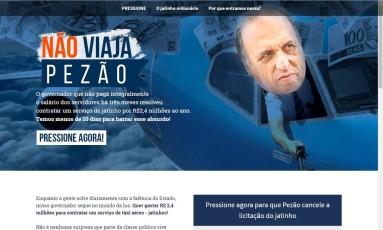 Plataforma para enviar e-mail para o Pezão Foto: Reprodução / Meu Rio
