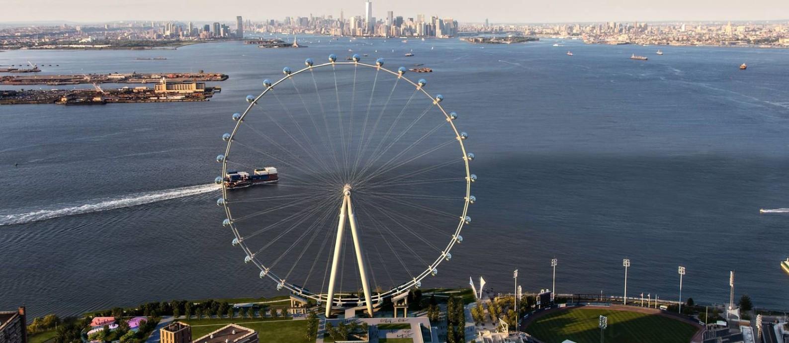 Roda-gigante. Atração, que será aberta em 2018, terá 190 metros de altura Foto: Projeção/S9 Architecture/Perkins Eastman