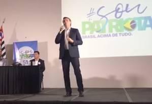 Bolsonaro participa de evento do PEN, em Ribeirão Preto (SP) Foto: Reprodução internet