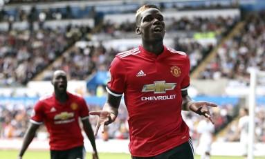 Pogba comemora o terceiro gol do Manchester na partida Foto: Nick Potts / AP