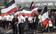Membros da extrema-direita de Berlim, capital alemã, se reúnem para manifestação pró-nazismo