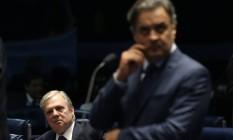 O senador Aécio Neves (PSDB-MG) e o presidente nacional do PSDB, senador Tasso Jereissati Foto: Ailton de Freitas / Agência O Globo