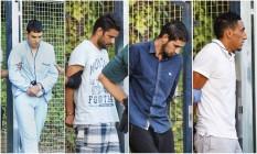 Da esquerda para direita: Mohamed Houli Chemlal, Mohamed Aallaa, Salah El Karib e Driss Oukabir— os quatro terroristas presos por envolvimento nos atentados na Catalunha Foto: Reprodução