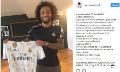 Post do instagram do jogador Marcelo Foto: Reprodução