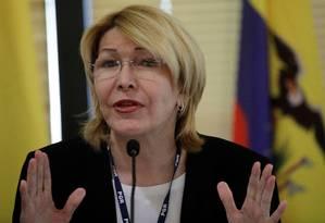 Ex-procuradora-geral da Venezuela Luisa Ortega Díaz gesticula durante um encontro com representantes dos Ministérios Públicos do Mercosul, em Brasília Foto: UESLEI MARCELINO / REUTERS