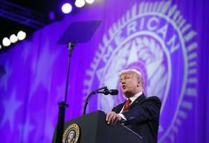 Trump fala durante Convenção Nacional da Legião Americana, em Reno, nesta quarta-feira Foto: Alex Brandon / AP