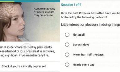 Google firmou parceria com a Aliança Nacional de Doenças Mentais dos Estados Unidos para mostrar questionário que pode ajudar a identificar níveis de sintomas depressivos Foto: Divulgação / Google e Aliança Nacional de Doenças Mentais dos Estados Unidos