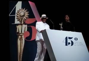 Antônio Pitanga ao lado da filha Camila no 45º Festival de Gramado Foto: Alessandro Giannini