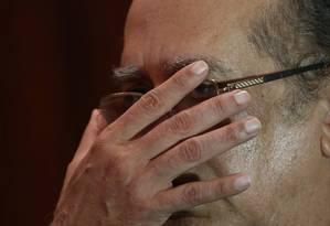 O ministro Gilmar Mendes preside a sessão no TSE Foto: Ailton de Freitas / O Globo