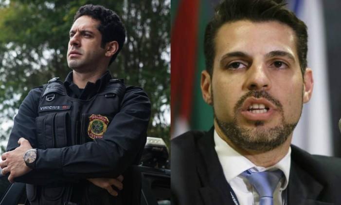 João Baldasserini ao lado do delegado Maurício Moscardi Foto: Reprodução