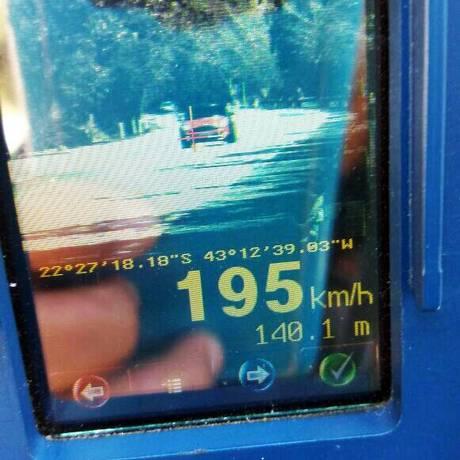 Radar da PRF mostra velocidade atingida por veículo na BR-040 Foto: Divulgação/PRF