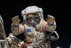 O cosmonauta russo Oleg Kotov durante missão na Estação Espacial Internacional Foto: NASA