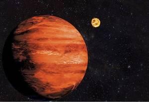 Ilustração de um exoplaneta do tipo 'Júpiter quente' como o recém-descoberto pela equipe de astrônomos brasileiros Foto: Divulgação