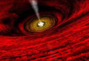 Ilustração do que seria o buraco negro no centro da Via Láctea Foto: Nasa