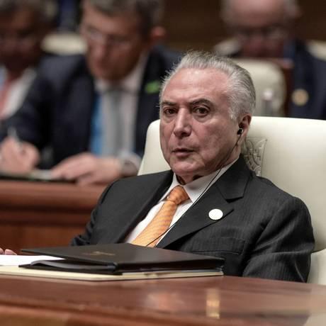 O presidente Michel Temer participa de reunião do Brics Foto: Fred Dufour / Pool/Reuters