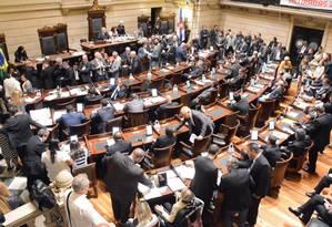 Vereadores durante discussão do projeto do IPTU: emendas podem fazer a arrecadação cair R$ 100 milhões Foto: Renan Olaz / CMRJ