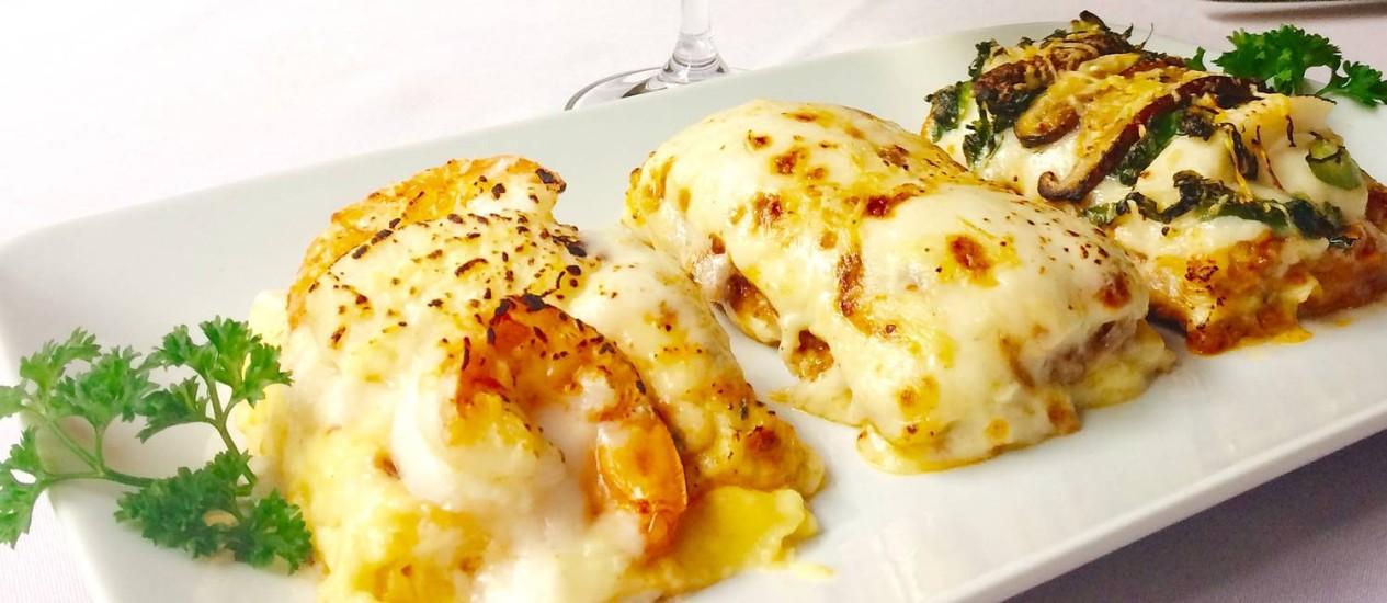 Três sabores no prato do festival de lasanha da Osteria Dell Angolo, em Ipanema Foto: Divulgação/Helen Pomposelli)