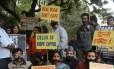 Manifestantes contra violência sexual na Índia