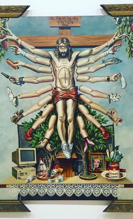 Críticos da mostra afirmaram nas redes sociais que algumas obras (no destaque 'Cruzando Jesus Cristo com deusa Shiva', de Fernando Baril) representavam 'imoralidade', 'blasfêmia' e 'apologia à zoofilia e pedofilia'. Os comentários contra a exposição viralizaram nas redes, impulsionados por grupos como o Movimento Brasil Livre (MBL). Foto: Reprodução