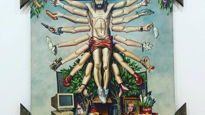 Críticos da mostra afirmaram nas redes sociais que algumas obras (no destaque 'Cruzando Jesus Cristo com deusa Shiva', de Fernando Baril) representavam 'imoralidade', 'blasfêmia' e 'apologia à zoofilia e pedofilia'. Os comentários contra a exposição viralizaram nas redes, impulsionados por grupos como o Movimento Brasil Livre (MBL) Foto: Reprodução