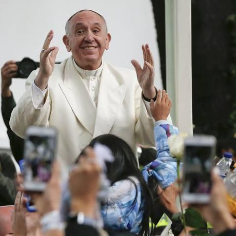 Papa Francisco durante viagem pela Colômbia Foto: Fernando Vergara / AP