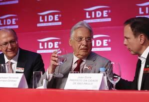 FH, Alckmin e Doria durente evento do LIDE em São Paulo Foto: Edilson Dantas / Agência O Globo