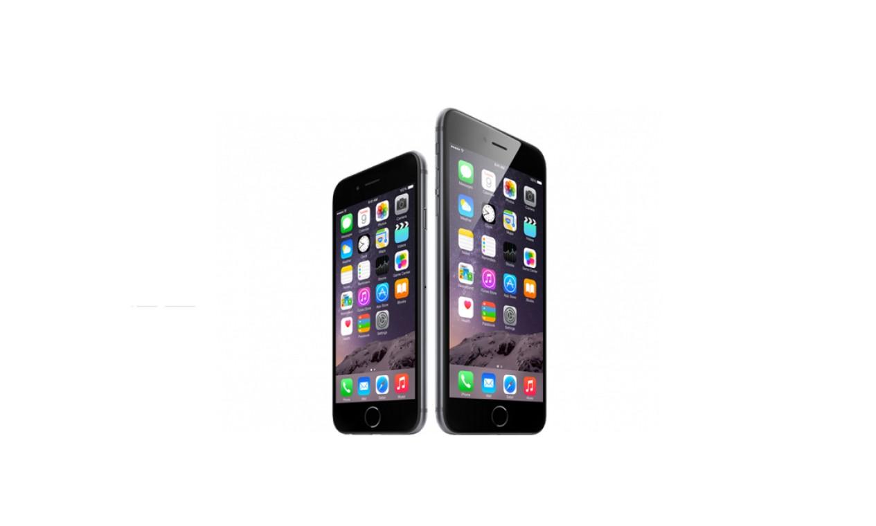iPhone6 e 6 Plus (2014) - Lançada em setembro, a oitava geração do iPhone é a primeira a contar com dois modelos com diferentes tamanhos de tela. Enquanto o iPhone 6 apresenta a agora tradicional tela de 4,7 polegadas, a versão Plus tem a missão de concorrer com os chamados phablets e conta com 5,5 polegadas Foto: Divulgação / Apple