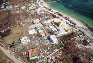 Imagem aérea mostra devastação em Tortola, nas Ilhas Virgens Britânicas, após furacão Irma Foto: HANDOUT / REUTERS