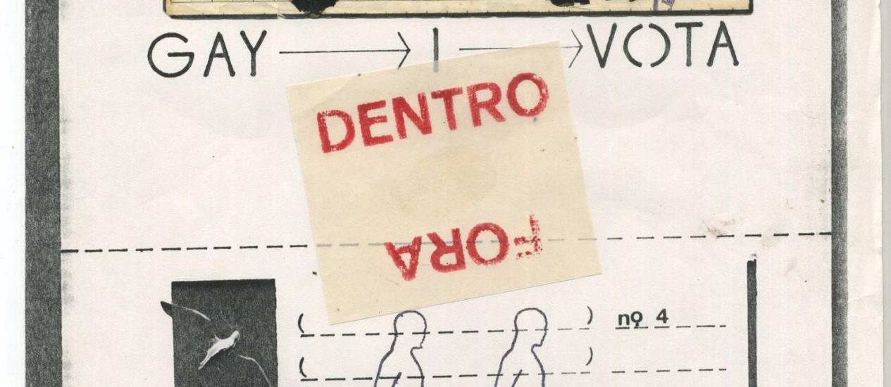"""""""Projeto MailArt - GAY-I-VOTA"""", obra de Rogério Nazári de 1981, que estava exposta na mostra """"Queermuseu"""" Foto: Reprodução"""