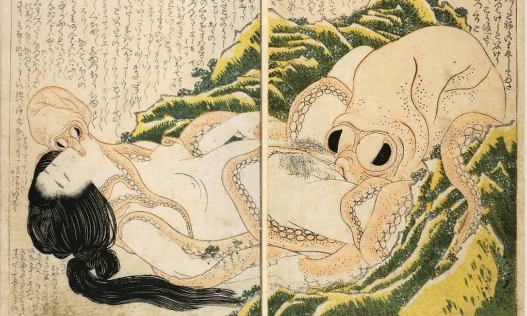 """""""O sonho da mulher do pescador"""", de Hokusai, conhecido artista plástico japonês do período Edo. Xilogravura (1814). Foto: Reprodução / British Museum"""