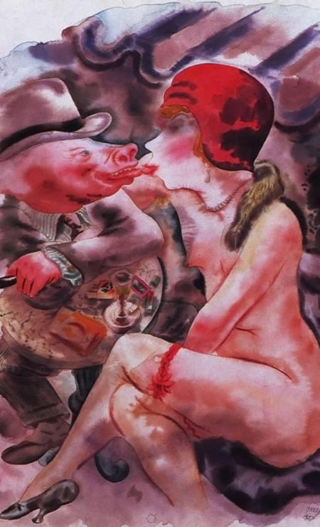 """"""".a (recto): Circe .b (verso): Untitled"""" (1927), de George Grosz, artista do expressionismo alemão. Na """"Odisséia"""" de Homero, Circe é uma feiticeira que transforma os companheiros de navio de Ulisses em porcos. Foto: Reprodução / The Museum of Modern Art, Nova York"""