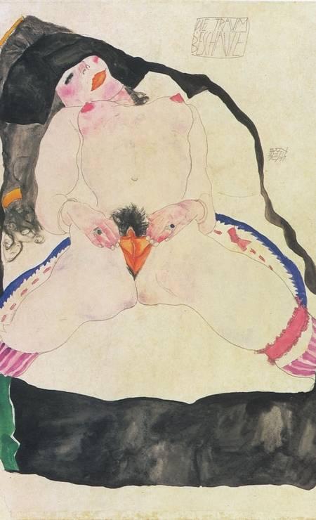 """""""Jeune Fille vue en rêve"""" (1911), de Egon Schiele. O pintor austríaco, discípulo de Gustav Klimt, chegou a ser preso em Viena por seus trabalhos considerados """"pornográficos"""" Foto: Reprodução / The Metropolitan Museum of Art, Nova York"""