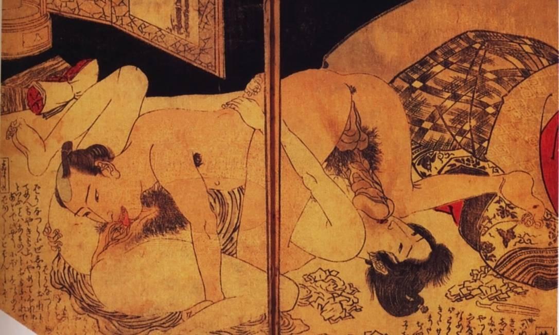 """""""O amor oral"""" (1820-1825), de Kunisada. O gravador foi o mais importante e o mais popular artista plástico no século XIX. Foto: Reprodução / The Kinsey Institute, Bloomington"""