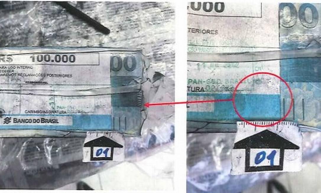 O documento da PF traz a imagem da digital do dedo médio esquerdo de Geddel 'impregnada' no dinheiro encontrado no 'bunker' de Salvador Reprodução/PF