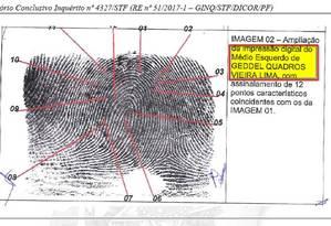 Imagem da digital de Geddel que está no relatório do quadrilhão Foto: Divulgação