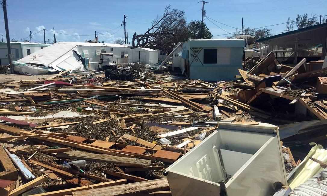 O furacão Irma causou devastação em Key West ao chegar no domingo de manhã ao extremo-sul de Florida Keys, ilhas no Sul da Flórida, com a violência de um furacão de categoria 4, com ventos de 215 km/h, que provocaram uma elevação drástica do nível do mar Foto: Henrique Gomes Batista / Henrique Gomes Batista