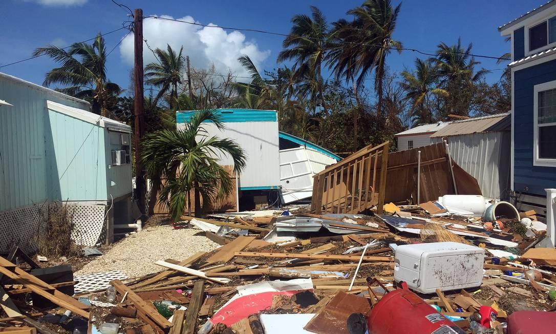 Além das casas destruídas, 15 milhões de moradores da Flórida continuavam sem energia elétrica após a passagem do furacão Irma Foto: Henrique Gomes Batista / .