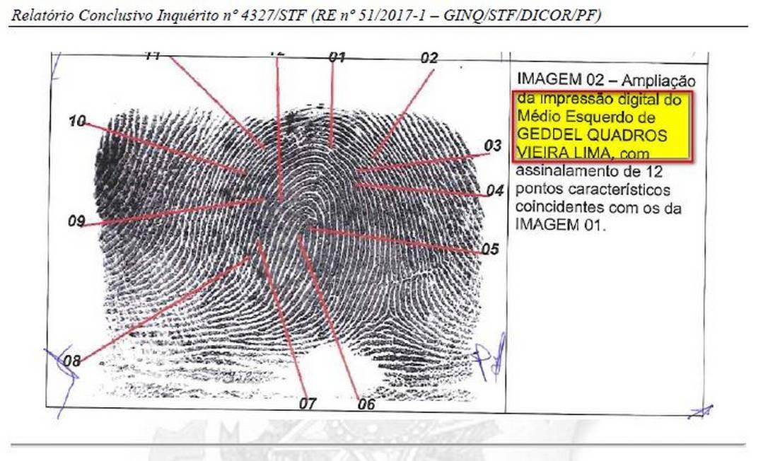 A digital do ex-ministro Geddel Vieira Lima indentificada pela PF em notas apreendidas em apartamento em Salvador Foto: Reprodução/PF