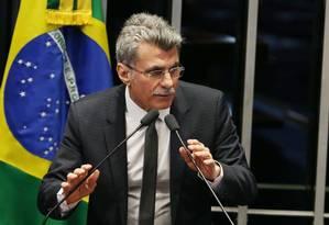O líder do governo no Senado, Romero Jucá, do PMDB, durante sessão - 05/09/2017 Foto: Givaldo Barbosa / Agência O Globo