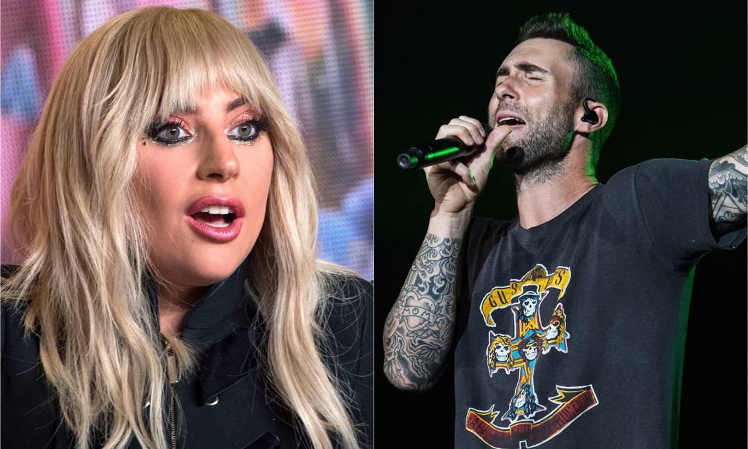 Substituição no Rock in Rio: Lady Gaga cancela e Maroon 5 entra no lugar Foto: AFP PHOTO / VALERIE MACON (Lady Gaga) / Evgenya Novozhenina/Sputnik (Adam Levine)