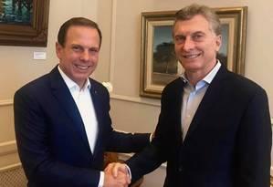 Doria foi recebido durante quase uma hora pelo presidente Mauricio Macri, na Casa Rosada Foto: Divulgação