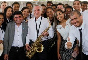 Temer participa de cerimônia de assinatura de decreto de ordem de serviço para a construção de uma ponte entre Xambioá (TO) e São Geraldo do Araguaia (PA), em Tocantins Foto: Beto Barata / Agência O Globo