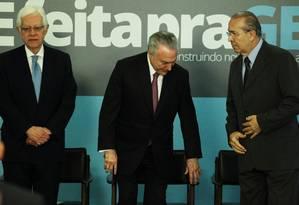 Moreira Franco, (secretaria-geral), o presidente Michel Temer e Eliseu Padilha (Casa Civil) Foto: Jorge William / Agência O Globo 27-07-2017