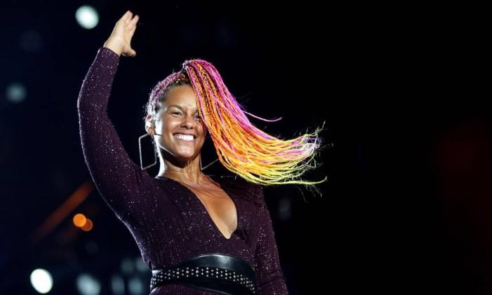 Show de Alicia Keys no palco Mundo no último dia da primeira semana do Rock in Rio 2017 Foto: Márcio Alves / O Globo