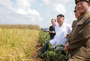 Kim Jong-un ao lado de militares norte-coreanos Foto: KCNA KCNA / REUTERS